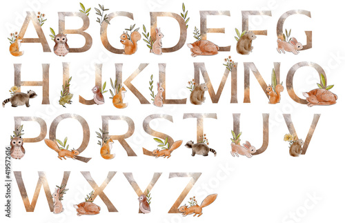 Watercolor alphabet with forest animals and floral Fototapet