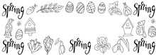Horizontal Frame With Spring Botanical Elements In Vector. Elements Of Floral Design In The Style Of Doodle Sketch.  Birds, Birdhouses, Beetles Easter Eggs. For Invitations, Cards, Designs For Easter.