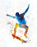 Man skateboard 01 in watercolor