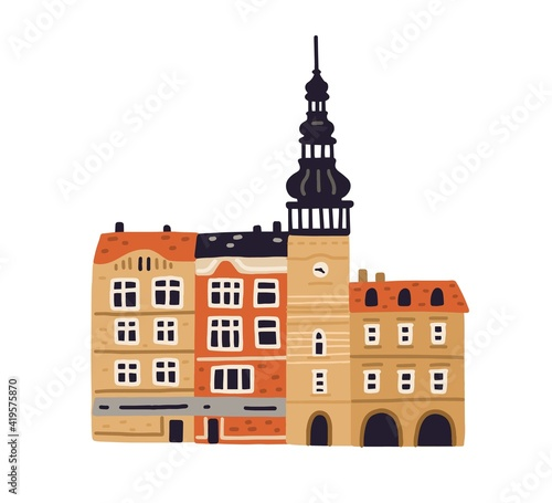 Canvas Old city hall with clock tower and belfries in Ostrava