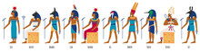 Ancient Egyptian Gods. Egyptian Culture Gods, Anubis, Osiris, Isis, Bastet And Amun Ra. Historical Egyptian Culture Characters Vector Illustration Set. Old Painting Style, Religious Elements