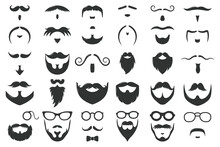 Moustaches And Beards. Vintage Hipster Moustache Silhouettes, Moustache And Beard Masculine Vector Symbols Set. Gentleman Face Hairstyle. Black Curly Hair, Glasses And Bow, Barber Logo