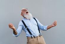 Happy Trendy Senior Man Having Fun Dancing In Front Camera - Fashion Elderly Male Lifestyle Concept
