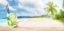 Fresh Cold Cocktail On Tropical Beach