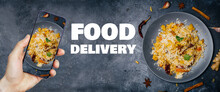 Indian Food Delivery. Indian Cuisine And Food Delivery Smartphone Apps Online