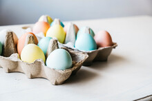 Cartons Of Dyed Eggs Ready For Easter