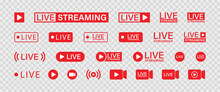 Live Streaming Set Red Icons. Play Button Icon Vector