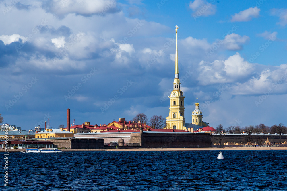 Fototapeta View of the Peter and Paul Fortress across the Neva River, iconic landmark in St. Petersburg, Russia