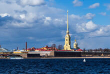 View Of The Peter And Paul Fortress Across The Neva River, Iconic Landmark In St. Petersburg, Russia