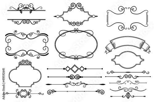 Obraz Calligraphic ornamental element collection, set of vintage design elements - fototapety do salonu