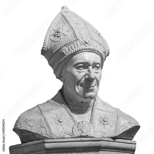 Photo Marble statue of bishop SLeonardo Salutati isolated on white background, was a R