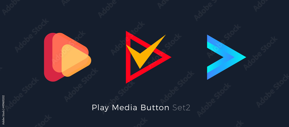 Fototapeta Play button foe media app. Multimedia player logo. Right arrow direction abstract symbol. Music and movie stert sign, audio and video editor logo. Vector web icon design