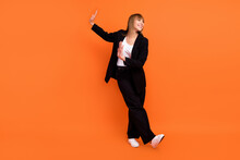 Full Length Body Size View Of Attractive Cheerful Girl Dancing Having Fun Move Isolated Over Bright Orange Color Background