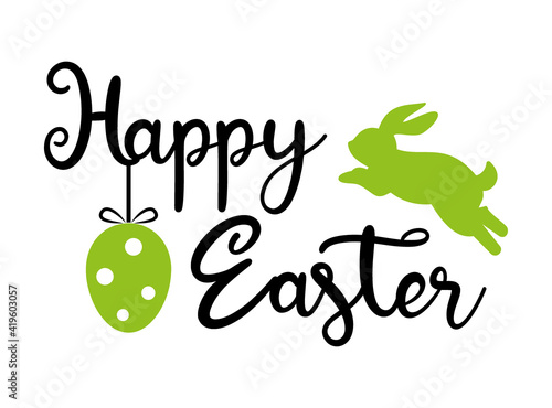 Happy Easter banner template - Calligraphy lettering  with Easter bunny and East Fototapete