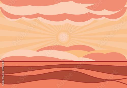 landscape sunset sky Fototapet