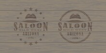 Color Illustration Of Hat, Lasso, Stars And Text On Background With Wooden Texture. Vector Illustration In Vintage Style For Print, Poster, Icon And Emblem. Advertising Sign Saloon.