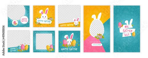 Fototapeta Happy easter trendy instagram template. Web online shopping banner concept obraz