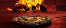 Wide Image Cover Photo Traditional Wood Fired Pizza Oven Pizzeria Inside