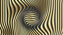 Gold Abstract Stripe Pattern Background. Optical Illusion Twisted Lines And Curves Background. Abstract 3d Vector Illustration.
