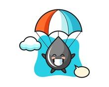 Oil Drop Mascot Cartoon Is Skydiving With Happy Gesture
