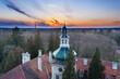 Pałac dworski w Iłowej. Wieża na tle wieczornego nieba. Zdjęcie z drona.