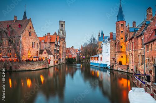 Fotografija Bruges, Belgium Night Scene
