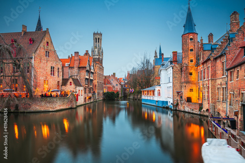 Bruges, Belgium Night Scene Fotobehang