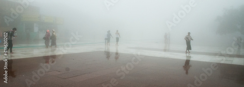 Foto Pilgrims in the mist at the Golden Rock Temple, Myanmar (Burma), Asia