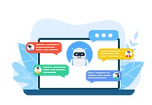Chatbot Robot Concept. Dialog Help Service. User And Bot Speech Messages. People Chatting With Cute Smiling Robot. Dialog With Bot. Vector Illustration In Flat Style