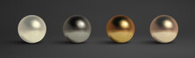 Abstract Metal Balls Set. Pearl, Black Metal,brass,silver. Vector Golden Sphere Isolated Object On Black. Chrome Sphere Silver Metal Ball.