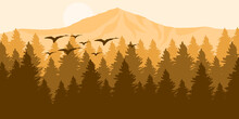 Vector Illustration Of Mountain Forest With Bird Sillhouette In Orange Color Tone Flat Style Design For Social Media Background, Web Banner, Tourism Web Banner, Tour And Travel Promotion, Backdrop