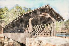 Covered Bridge At Stone Mountain, DeKalb County, Atlanta, Georgia, USA. Historic Washington W. King Bridge At Stone Mountain Park. Watercolor Illustration.