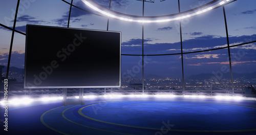 Fotografia Industrial TV show studio backdrop with empty screen