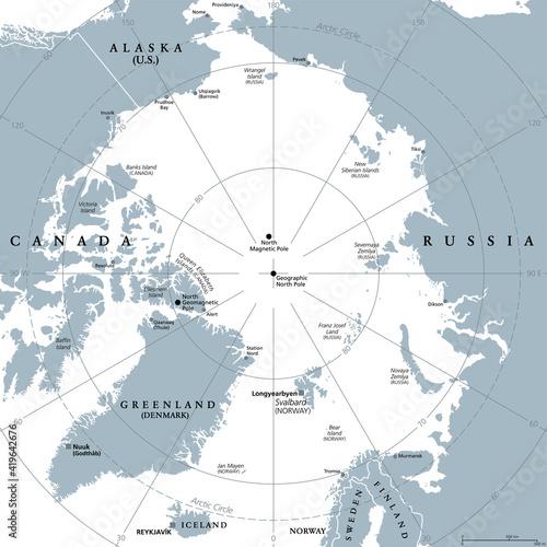 Foto Arctic region, gray political map