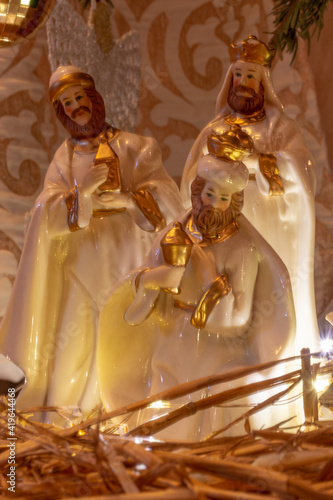 Three wise men or kings in adoration of the newborn baby Jesus, porcelain figuri Fototapet
