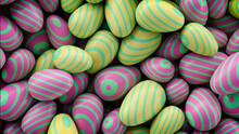Multicolored, Easter Egg Background. Beautiful Yellow, Pink And Green Eggs With Striped Patterns. 3D Render
