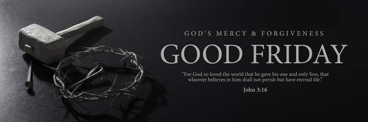 Good Friday Banner Design. Jesus Christ Crown of Thorns Nails and Hammer 3D Rendering