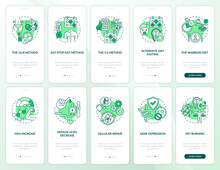 Intermittent Fasting Green Onboarding Mobile App Page Screen With Concepts Set. Healthy Eating. Diet Walkthrough 5 Steps Graphic Instructions. UI Vector Template With RGB Color Illustrations