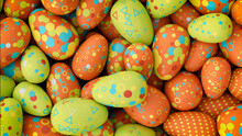 Multicolored, Easter Egg Background. Beautiful Green, Orange And Blue Eggs With Spotted And Triangle Patterns. 3D Render