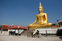 Golden Big Buddha Statue Of Wat Bang Chak At Riverside Chao Phraya River Near Koh Kret Island For Thai People Travel Visit Respect Praying At Pak Kret City On November 15, 2020 In Nonthaburi, Thailand
