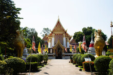 Ordination Hall And Swan Phoenix Statue Of Wat Phai Lom Or Mon Temple On Koh Kret Island For Travelers People Travel Visit Respect Praying At Pak Kret City On November 15, 2020 In Nonthaburi, Thailand