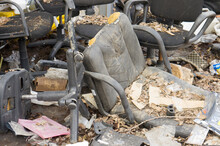 Office Chairs And Armchairs Thrown Into Landfill Due To Breakage And Quarantine