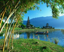 Outrigger Canoe On Lake Bratan Near Candikuning Temple On Bali, Indonesia