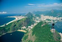Aerial View Of Rio And The Copacabana Beach From Sugar Loaf, In Rio De Janeiro, Brazil