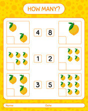 How Many Counting Game With Eggfruit Worksheet For Preschool Kids, Kids Activity Sheet, Printable Worksheet