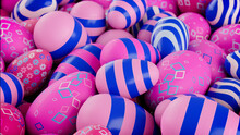 Multicolored, Easter Egg Background. Beautiful Pink, And Blue Eggs With Striped, And Diamond Patterns. 3D Render