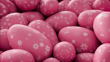Multicolored, Easter Egg Background. Beautiful Pink Eggs With Floral And Triangle Patterns. 3D Render