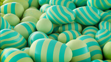 Multicolored, Easter Egg Background. Beautiful Green, And Turquoise Eggs With Striped Patterns. 3D Render