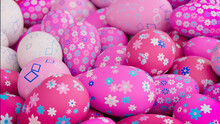 Multicolored, Easter Egg Background. Beautiful Pink, White And Blue Eggs With Floral And Diamond Patterns. 3D Render