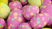 Multicolored, Easter Egg Background. Beautiful Yellow, Pink And Turquoise Eggs With Floral Patterns. 3D Render
